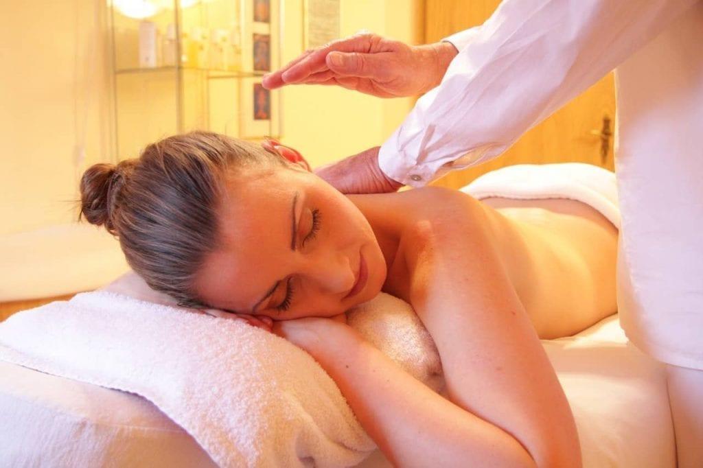 Woman enjoys Corporate Wellness Massage in Los Angeles